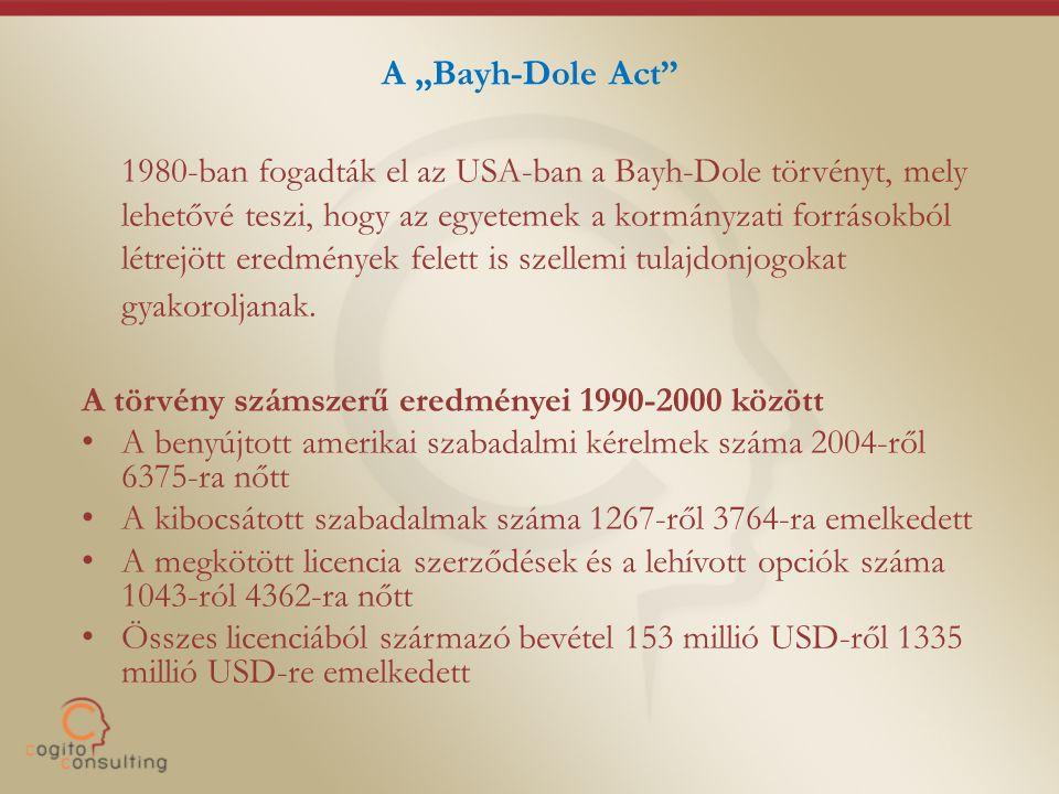 """A """"Bayh-Dole Act 1980-ban fogadták el az USA-ban a Bayh-Dole törvényt, mely lehetővé teszi, hogy az egyetemek a kormányzati forrásokból létrejött eredmények felett is szellemi tulajdonjogokat gyakoroljanak."""
