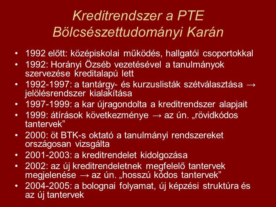 Kreditrendszer a PTE Bölcsészettudományi Karán 1992 előtt: középiskolai működés, hallgatói csoportokkal 1992: Horányi Özséb vezetésével a tanulmányok
