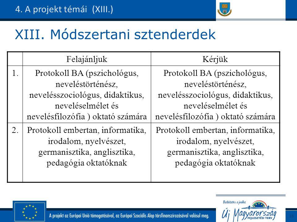 XIII. Módszertani sztenderdek 4.