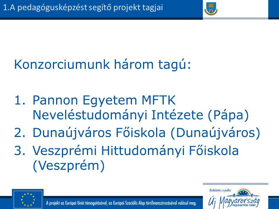 Konzorciumunk három tagú: 1.Pannon Egyetem MFTK Neveléstudományi Intézete (Pápa) 2.Dunaújváros Főiskola (Dunaújváros) 3.Veszprémi Hittudományi Főiskola (Veszprém) 1.A pedagógusképzést segítő projekt tagjai 2