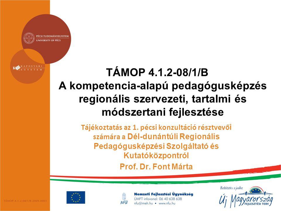 TÁMOP 4.1.2-08/1/B A kompetencia-alapú pedagógusképzés regionális szervezeti, tartalmi és módszertani fejlesztése Tájékoztatás az 1. pécsi konzultáció