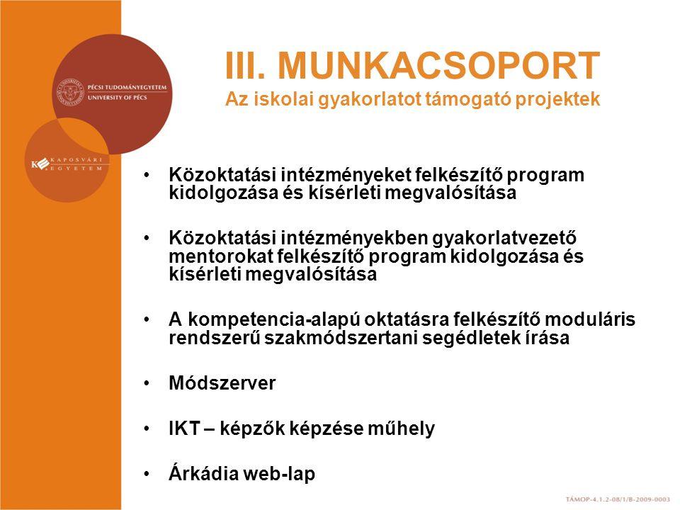 III. MUNKACSOPORT Az iskolai gyakorlatot támogató projektek Közoktatási intézményeket felkészítő program kidolgozása és kísérleti megvalósítása Közokt