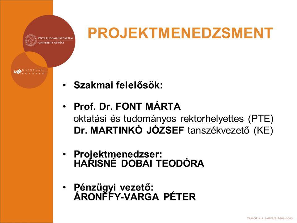 PROJEKTMENEDZSMENT Szakmai felelősök: Prof. Dr. FONT MÁRTA oktatási és tudományos rektorhelyettes (PTE) Dr. MARTINKÓ JÓZSEF tanszékvezető (KE) Projekt