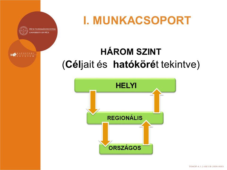 I. MUNKACSOPORT HÁROM SZINT (Céljait és hatókörét tekintve) HELYI REGIONÁLIS ORSZÁGOS