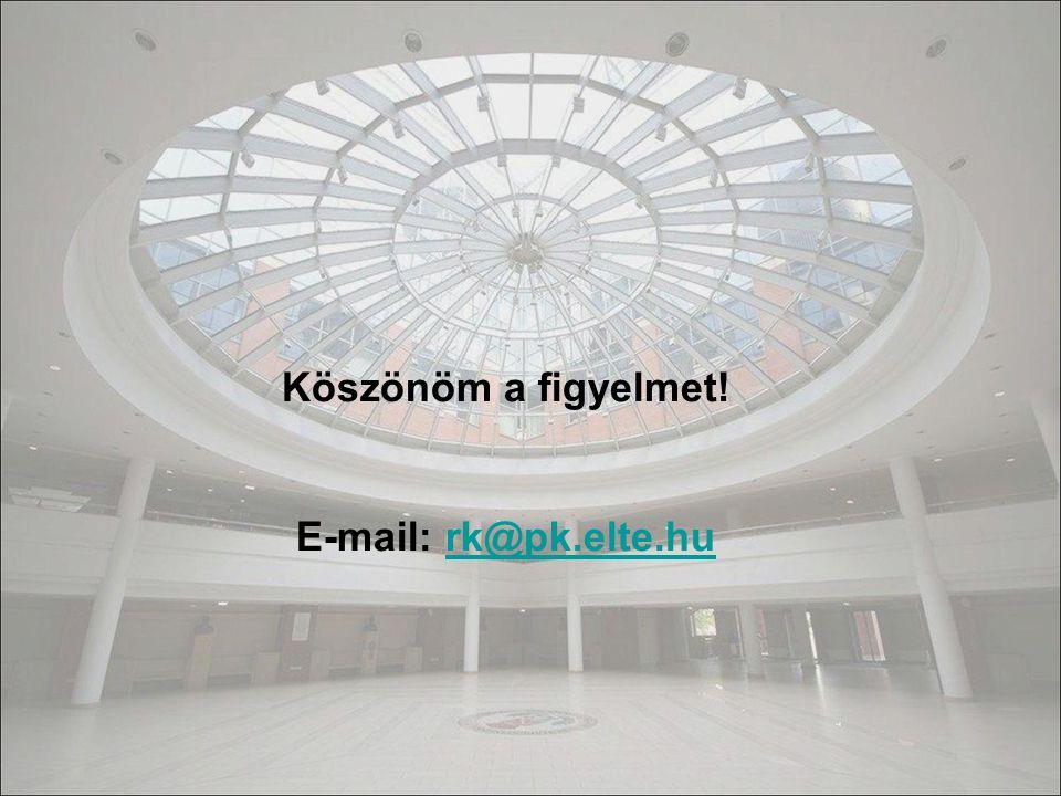 Köszönöm a figyelmet! E-mail: rk@pk.elte.hurk@pk.elte.hu