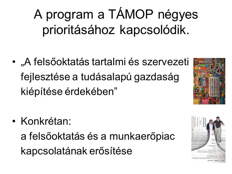 """A program a TÁMOP négyes prioritásához kapcsolódik. """"A felsőoktatás tartalmi és szervezeti fejlesztése a tudásalapú gazdaság kiépítése érdekében"""" Konk"""