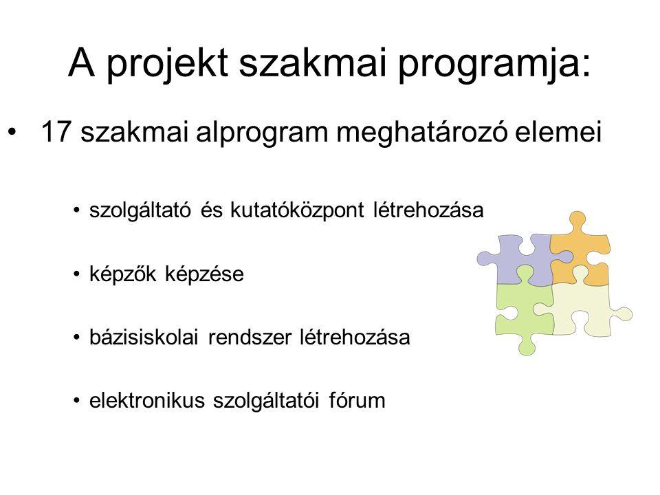 A projekt szakmai programja: 17 szakmai alprogram meghatározó elemei szolgáltató és kutatóközpont létrehozása képzők képzése bázisiskolai rendszer lét