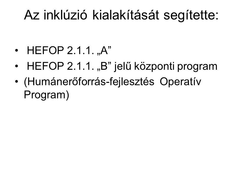 """Az inklúzió kialakítását segítette: HEFOP 2.1.1. """"A"""" HEFOP 2.1.1. """"B"""" jelű központi program (Humánerőforrás-fejlesztés Operatív Program)"""