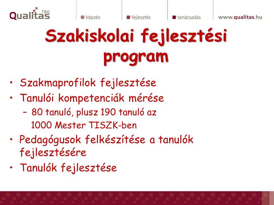 Szakiskolai fejlesztési program Szakmaprofilok fejlesztése Tanulói kompetenciák mérése –80 tanuló, plusz 190 tanuló az 1000 Mester TISZK-ben Pedagógus