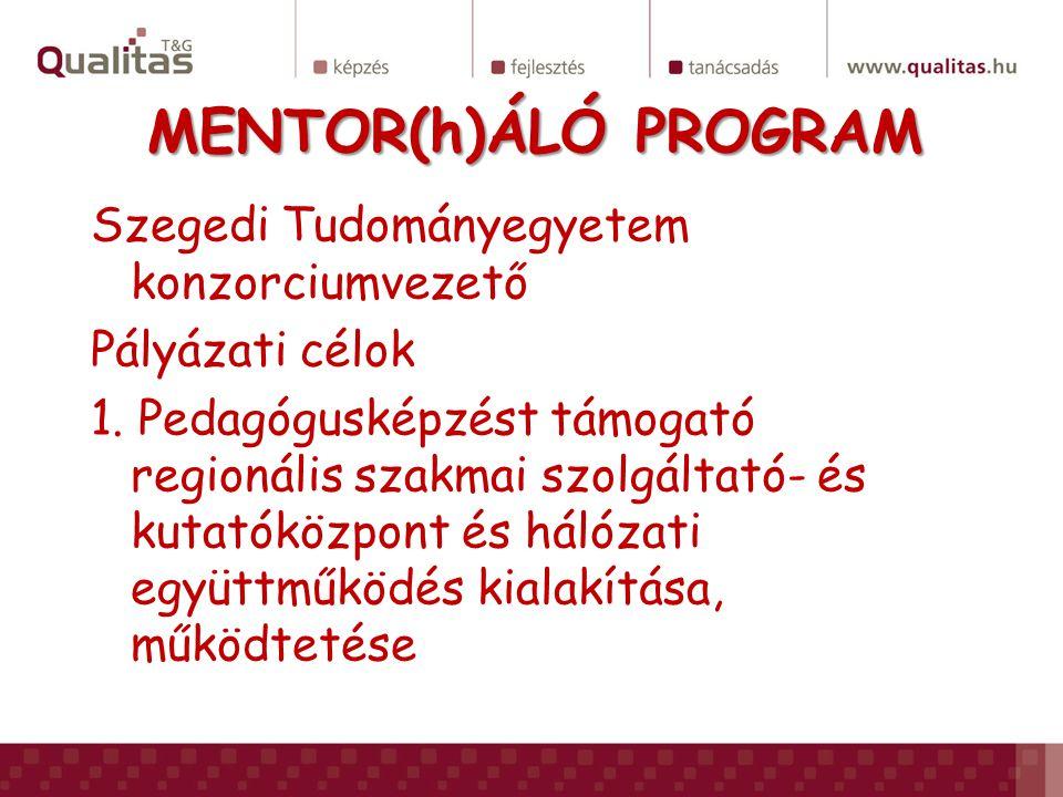 MENTOR(h)ÁLÓ PROGRAM Szegedi Tudományegyetem konzorciumvezető Pályázati célok 1. Pedagógusképzést támogató regionális szakmai szolgáltató- és kutatókö