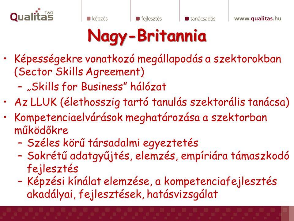 """Nagy-Britannia Képességekre vonatkozó megállapodás a szektorokban (Sector Skills Agreement) –""""Skills for Business"""" hálózat Az LLUK (élethosszig tartó"""