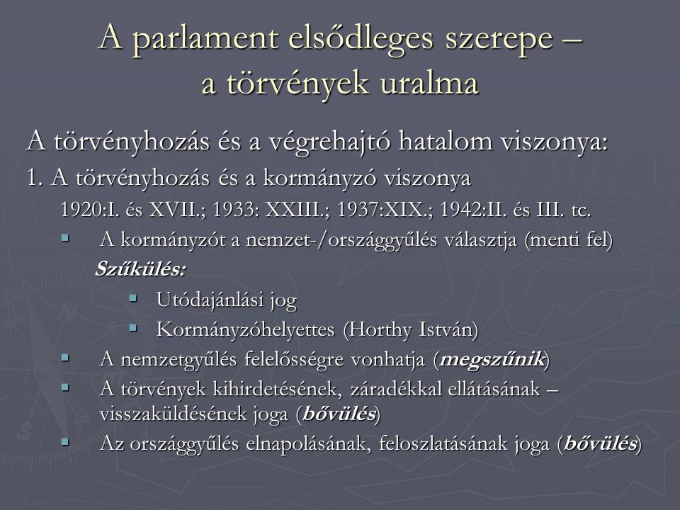 A parlament elsődleges szerepe – a törvények uralma A törvényhozás és a végrehajtó hatalom viszonya: 1. A törvényhozás és a kormányzó viszonya 1920:I.