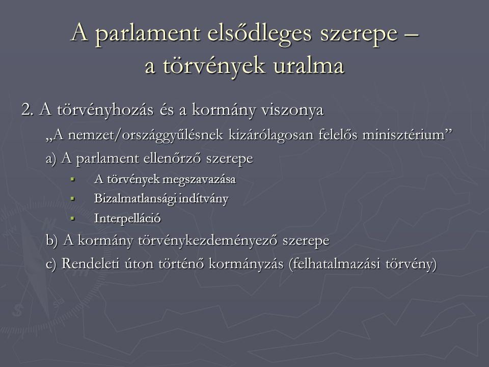"""A parlament elsődleges szerepe – a törvények uralma 2. A törvényhozás és a kormány viszonya """"A nemzet/országgyűlésnek kizárólagosan felelős minisztéri"""