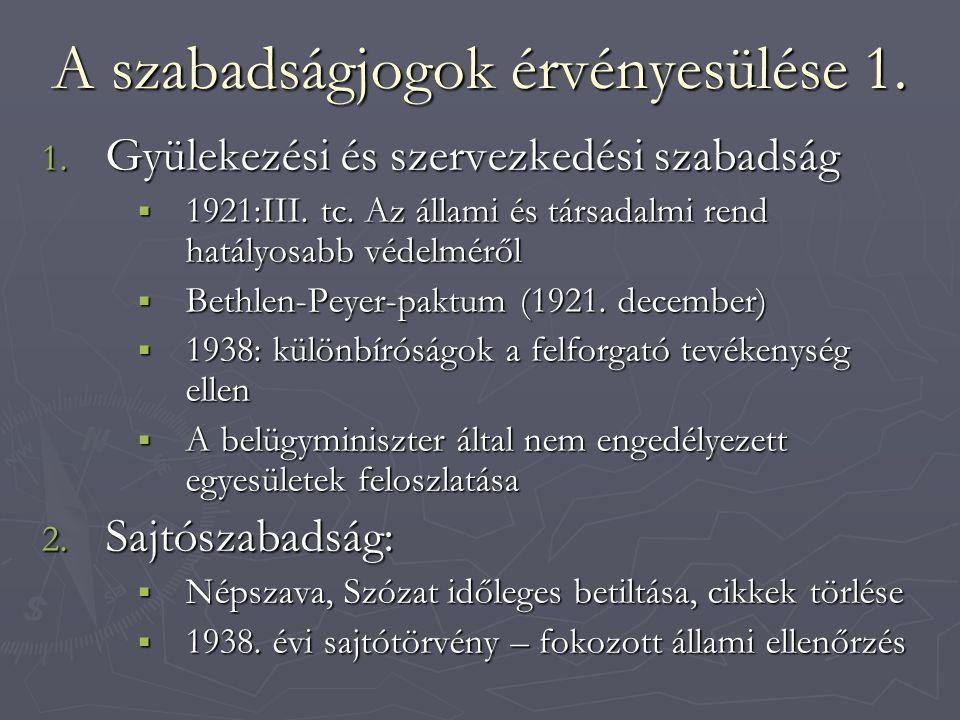 A szabadságjogok érvényesülése 1. 1. Gyülekezési és szervezkedési szabadság  1921:III. tc. Az állami és társadalmi rend hatályosabb védelméről  Beth