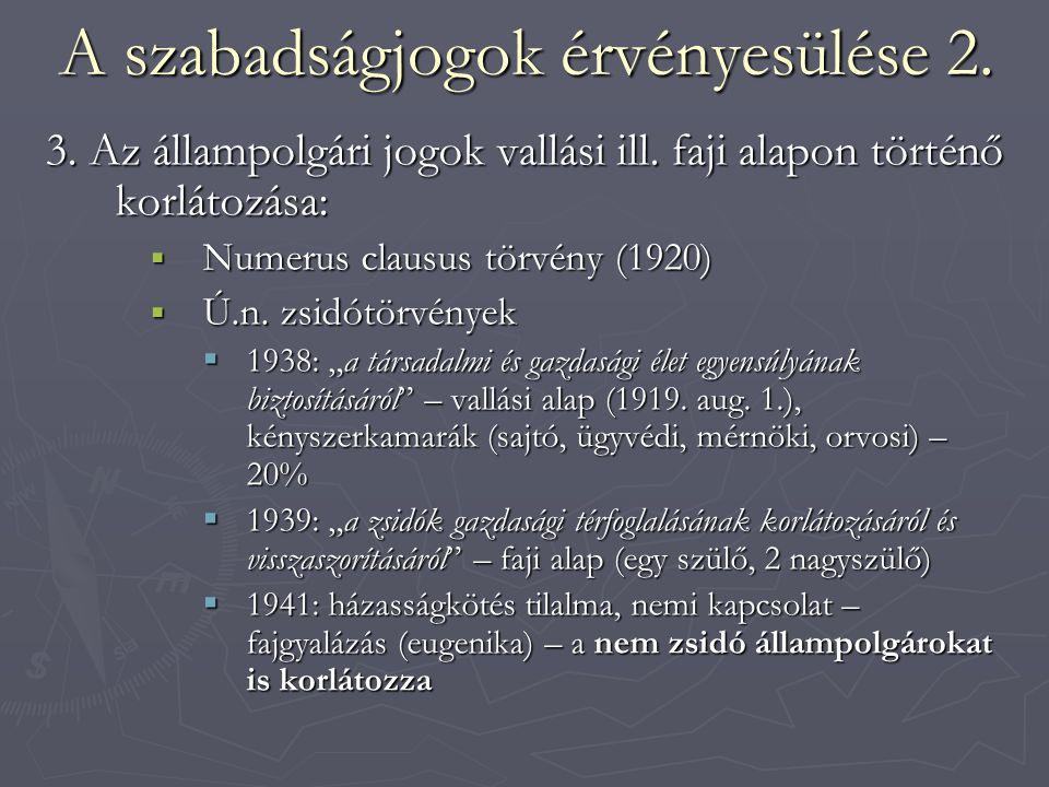 A szabadságjogok érvényesülése 2. 3. Az állampolgári jogok vallási ill. faji alapon történő korlátozása:  Numerus clausus törvény (1920)  Ú.n. zsidó