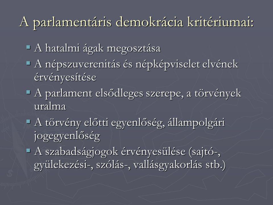 A parlamentáris demokrácia kritériumai:  A hatalmi ágak megosztása  A népszuverenitás és népképviselet elvének érvényesítése  A parlament elsődleges szerepe, a törvények uralma  A törvény előtti egyenlőség, állampolgári jogegyenlőség  A szabadságjogok érvényesülése (sajtó-, gyülekezési-, szólás-, vallásgyakorlás stb.)