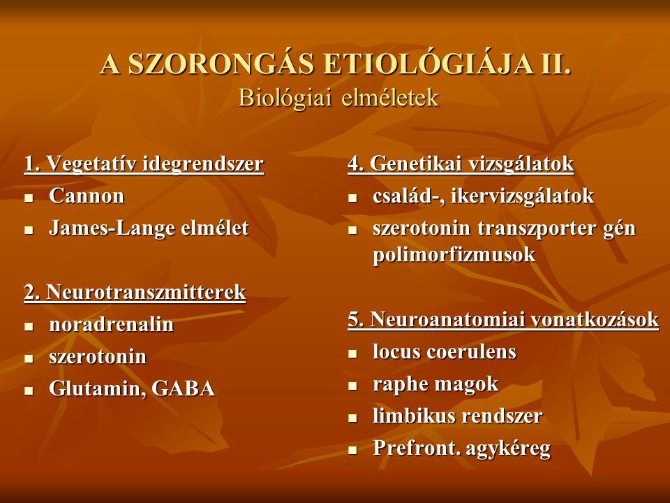 A SZORONGÁS ETIOLÓGIÁJA II. Biológiai elméletek 1. Vegetatív idegrendszer Cannon Cannon James-Lange elmélet James-Lange elmélet 2. Neurotranszmitterek