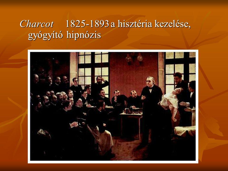 Charcot1825-1893a hisztéria kezelése, gyógyító hipnózis
