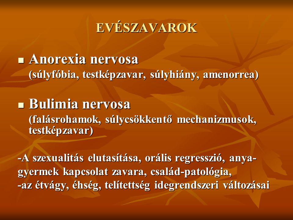 EVÉSZAVAROK Anorexia nervosa Anorexia nervosa (súlyfóbia, testképzavar, súlyhiány, amenorrea) Bulimia nervosa Bulimia nervosa (falásrohamok, súlycsökk