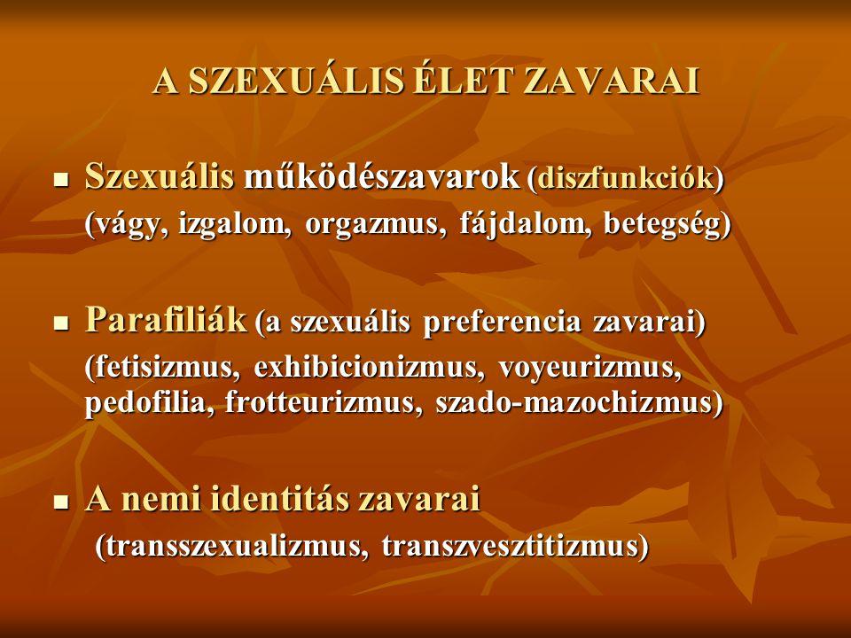 A SZEXUÁLIS ÉLET ZAVARAI Szexuális működészavarok (diszfunkciók) Szexuális működészavarok (diszfunkciók) (vágy, izgalom, orgazmus, fájdalom, betegség)