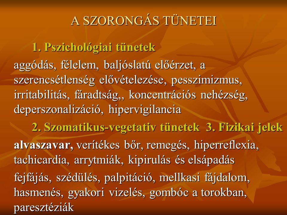 A SZORONGÁS TÜNETEI 1. Pszichológiai tünetek aggódás, félelem, baljóslatú előérzet, a szerencsétlenség elővételezése, pesszimizmus, irritabilitás, fár