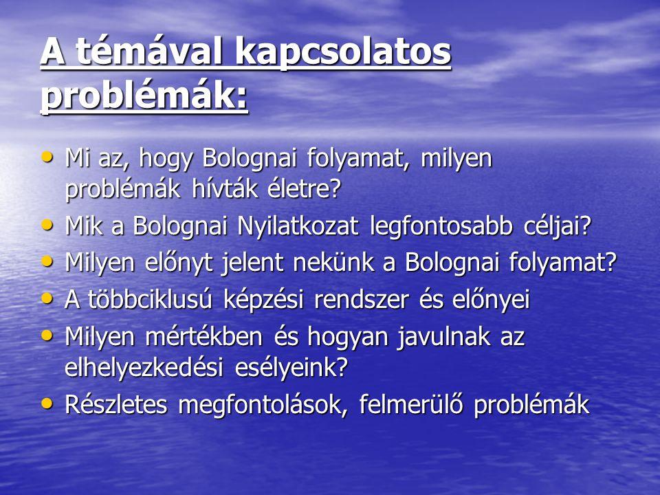 A témával kapcsolatos problémák: Mi az, hogy Bolognai folyamat, milyen problémák hívták életre? Mi az, hogy Bolognai folyamat, milyen problémák hívták