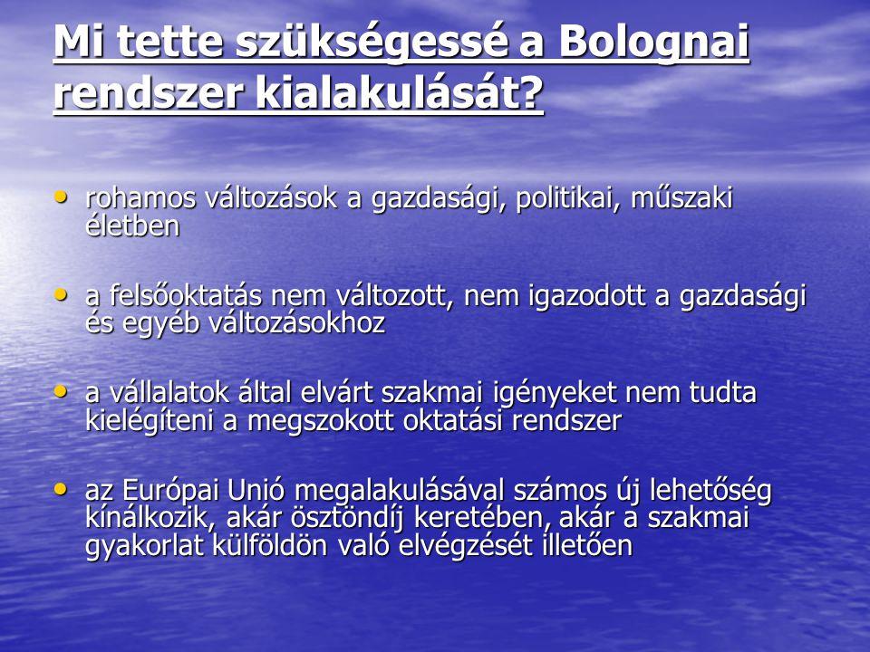 Mi tette szükségessé a Bolognai rendszer kialakulását? rohamos változások a gazdasági, politikai, műszaki életben rohamos változások a gazdasági, poli
