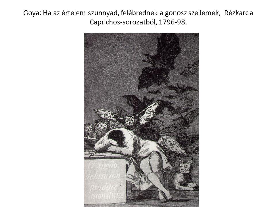 Goya: Ha az értelem szunnyad, felébrednek a gonosz szellemek, Rézkarc a Caprichos-sorozatból, 1796-98.