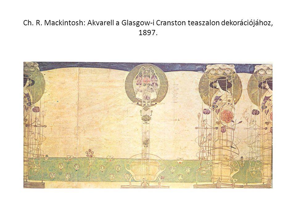 Ch. R. Mackintosh: Akvarell a Glasgow-i Cranston teaszalon dekorációjához, 1897.