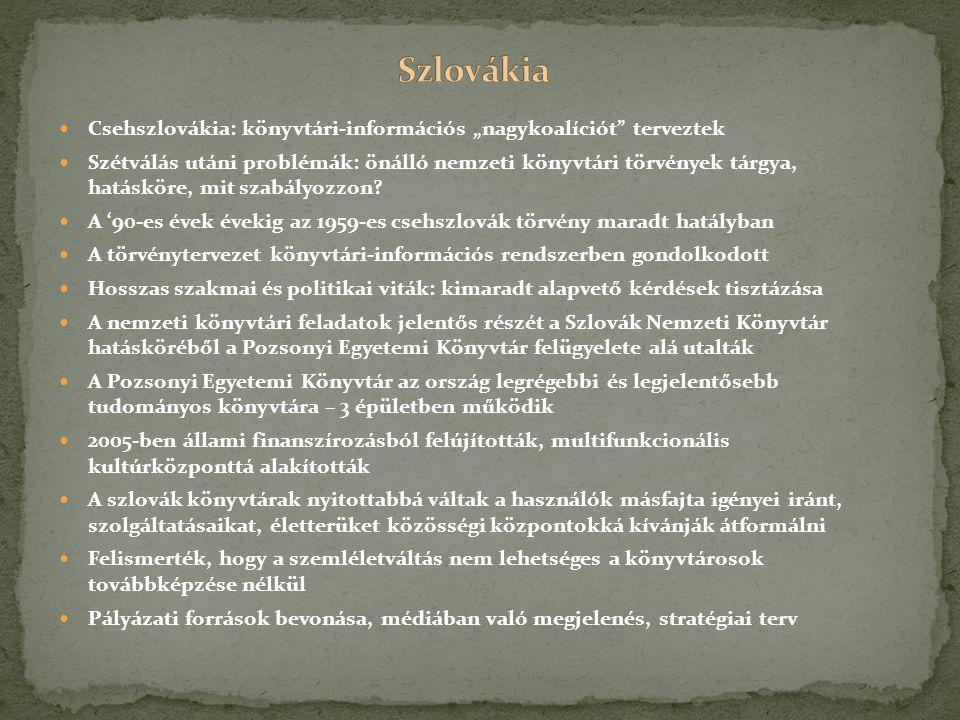 """Csehszlovákia: könyvtári-információs """"nagykoalíciót terveztek Szétválás utáni problémák: önálló nemzeti könyvtári törvények tárgya, hatásköre, mit szabályozzon."""