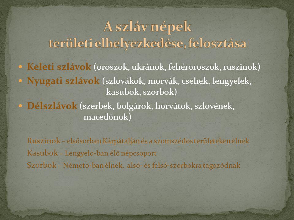 Keleti szlávok (oroszok, ukránok, fehéroroszok, ruszinok) Nyugati szlávok (szlovákok, morvák, csehek, lengyelek, kasubok, szorbok) Délszlávok (szerbek, bolgárok, horvátok, szlovének, macedónok) Ruszinok – elsősorban Kárpátalján és a szomszédos területeken élnek Kasubok – Lengyelo-ban élő népcsoport Szorbok – Németo-ban élnek, alsó- és felső-szorbokra tagozódnak
