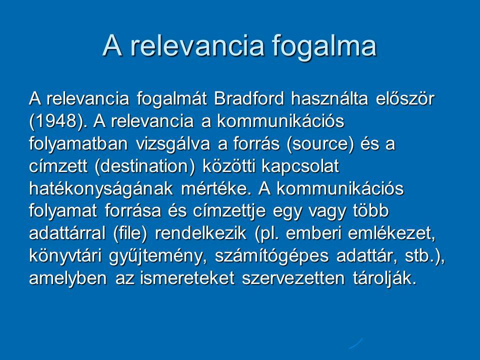 A relevancia fogalma A relevancia fogalmát Bradford használta először (1948). A relevancia a kommunikációs folyamatban vizsgálva a forrás (source) és