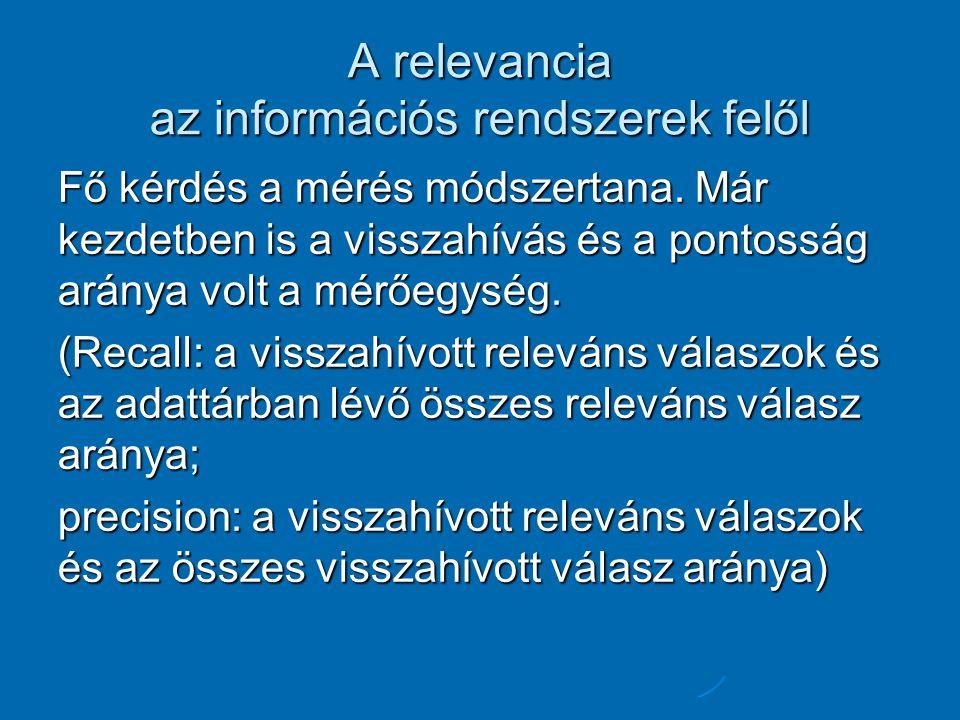A relevancia az információs rendszerek felől Fő kérdés a mérés módszertana.