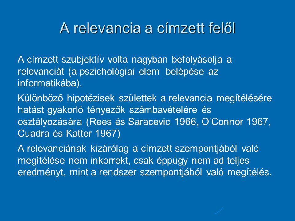 A relevancia a címzett felől A címzett szubjektív volta nagyban befolyásolja a relevanciát (a pszichológiai elem belépése az informatikába). Különböző