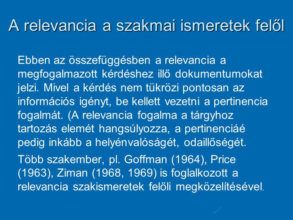 A relevancia a szakmai ismeretek felől Ebben az összefüggésben a relevancia a megfogalmazott kérdéshez illő dokumentumokat jelzi.