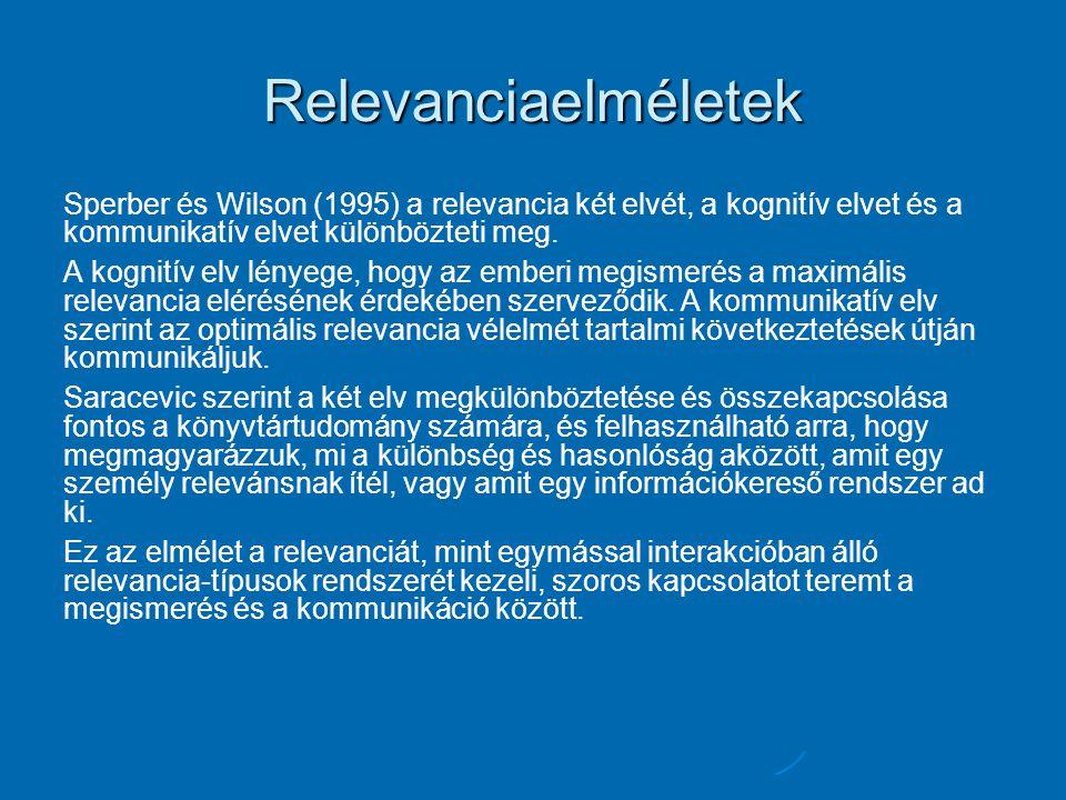 Relevanciaelméletek Sperber és Wilson (1995) a relevancia két elvét, a kognitív elvet és a kommunikatív elvet különbözteti meg.