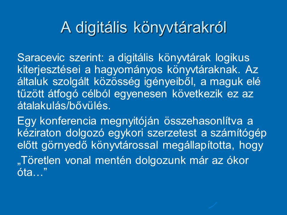 A digitális könyvtárakról Saracevic szerint: a digitális könyvtárak logikus kiterjesztései a hagyományos könyvtáraknak. Az általuk szolgált közösség i