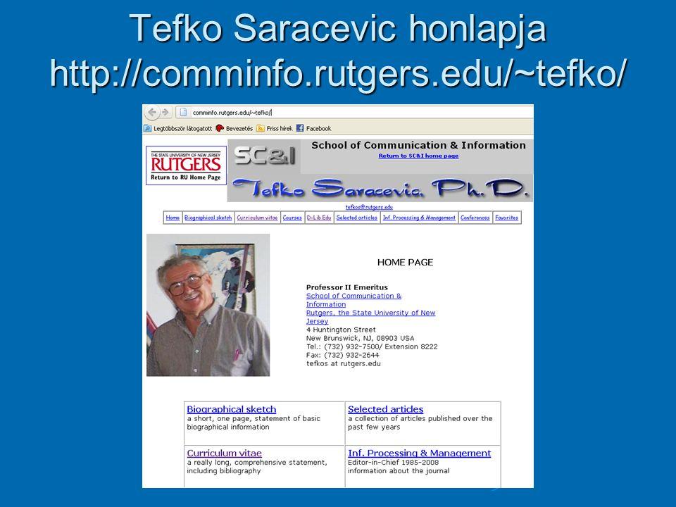 Tefko Saracevic honlapja http://comminfo.rutgers.edu/~tefko/