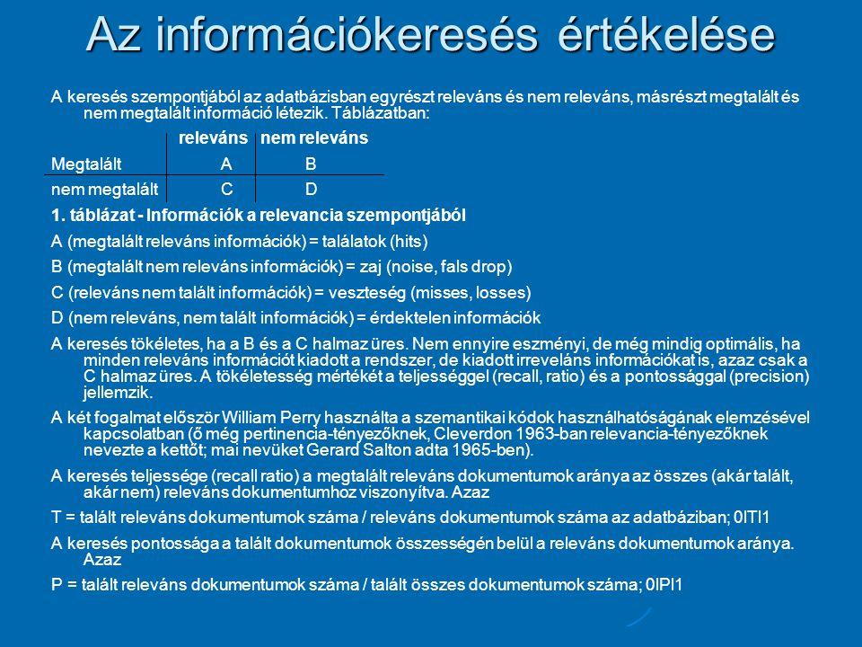 Az információkeresés értékelése A keresés szempontjából az adatbázisban egyrészt releváns és nem releváns, másrészt megtalált és nem megtalált informá