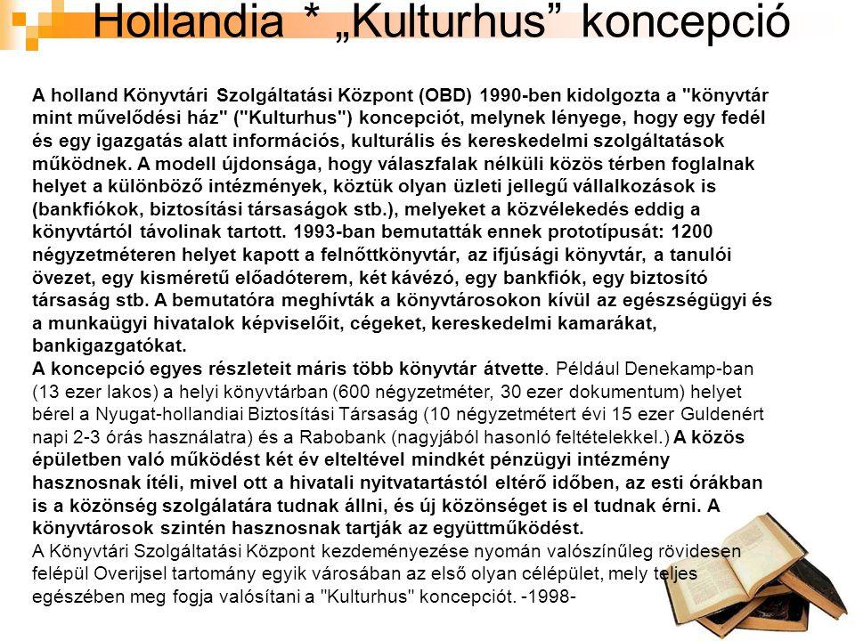 """Hollandia * """"Kulturhus koncepció A holland Könyvtári Szolgáltatási Központ (OBD) 1990-ben kidolgozta a könyvtár mint művelődési ház ( Kulturhus ) koncepciót, melynek lényege, hogy egy fedél és egy igazgatás alatt információs, kulturális és kereskedelmi szolgáltatások működnek."""