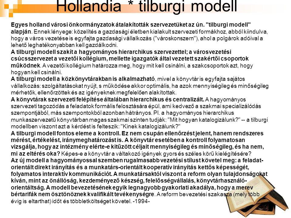 Hollandia * tilburgi modell Egyes holland városi önkormányzatok átalakították szervezetüket az ún.