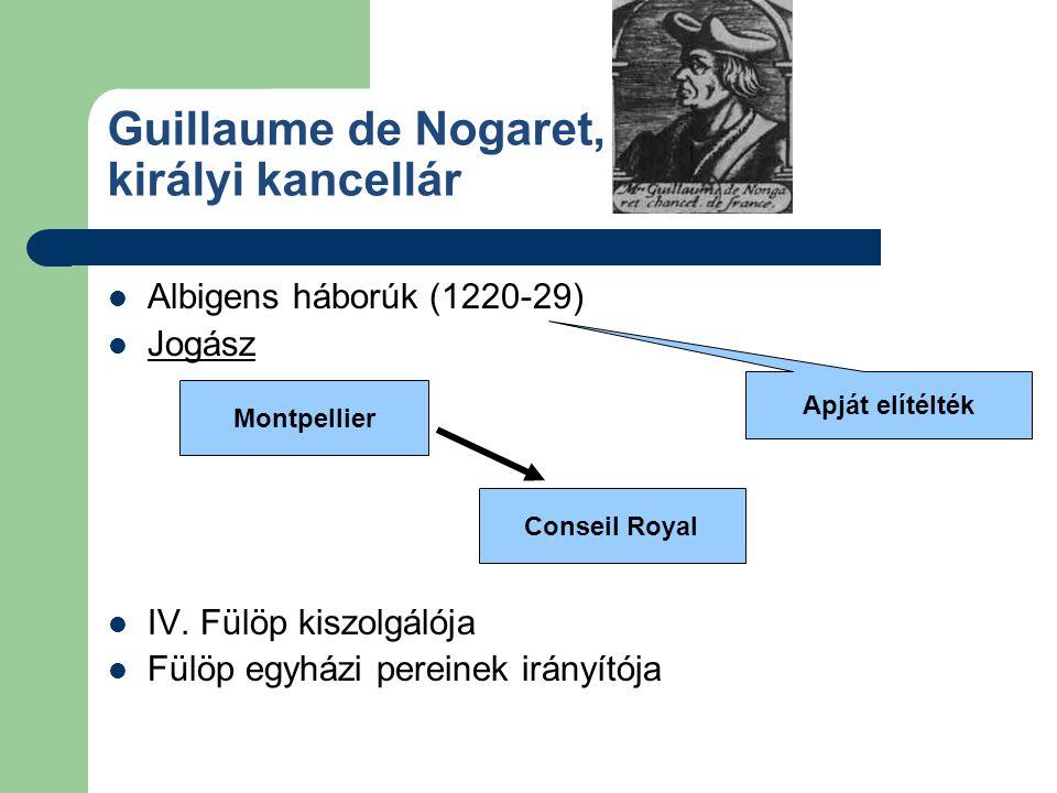 Guillaume de Nogaret, királyi kancellár Albigens háborúk (1220-29) Jogász IV. Fülöp kiszolgálója Fülöp egyházi pereinek irányítója Apját elítélték Mon