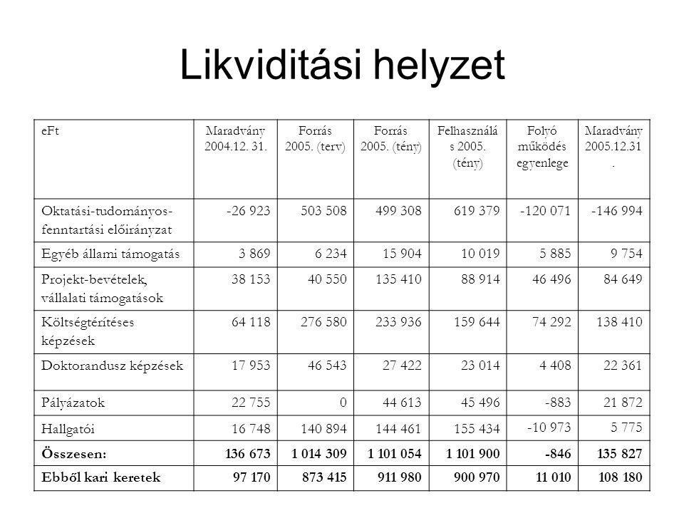 Likviditási helyzet eFtMaradvány 2004.12. 31. Forrás 2005. (terv) Forrás 2005. (tény) Felhasználá s 2005. (tény) Folyó működés egyenlege Maradvány 200