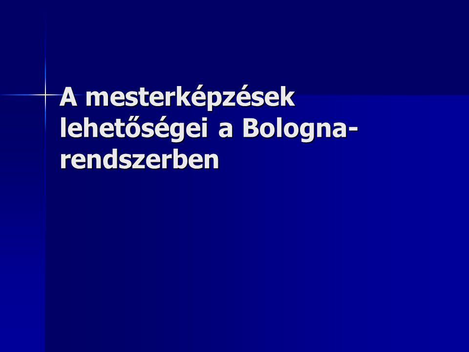 A mesterképzések lehetőségei a Bologna- rendszerben