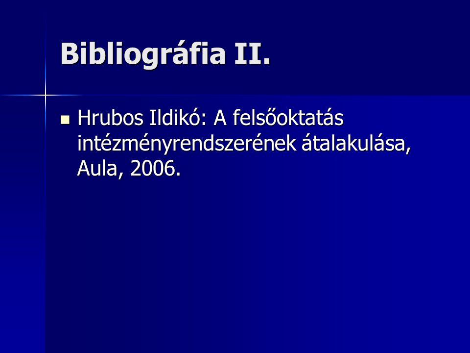 Bibliográfia II. Hrubos Ildikó: A felsőoktatás intézményrendszerének átalakulása, Aula, 2006.