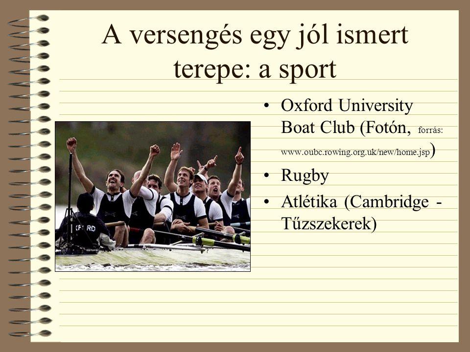 A versengés egy jól ismert terepe: a sport Oxford University Boat Club (Fotón, forrás: www.oubc.rowing.org.uk/new/home.jsp ) Rugby Atlétika (Cambridge - Tűzszekerek)