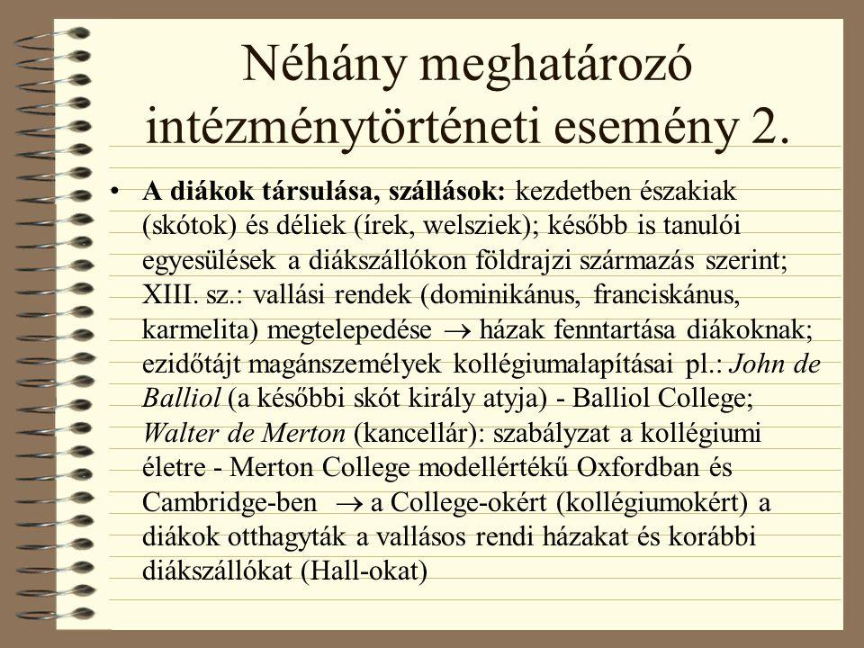 Néhány meghatározó intézménytörténeti esemény 2.