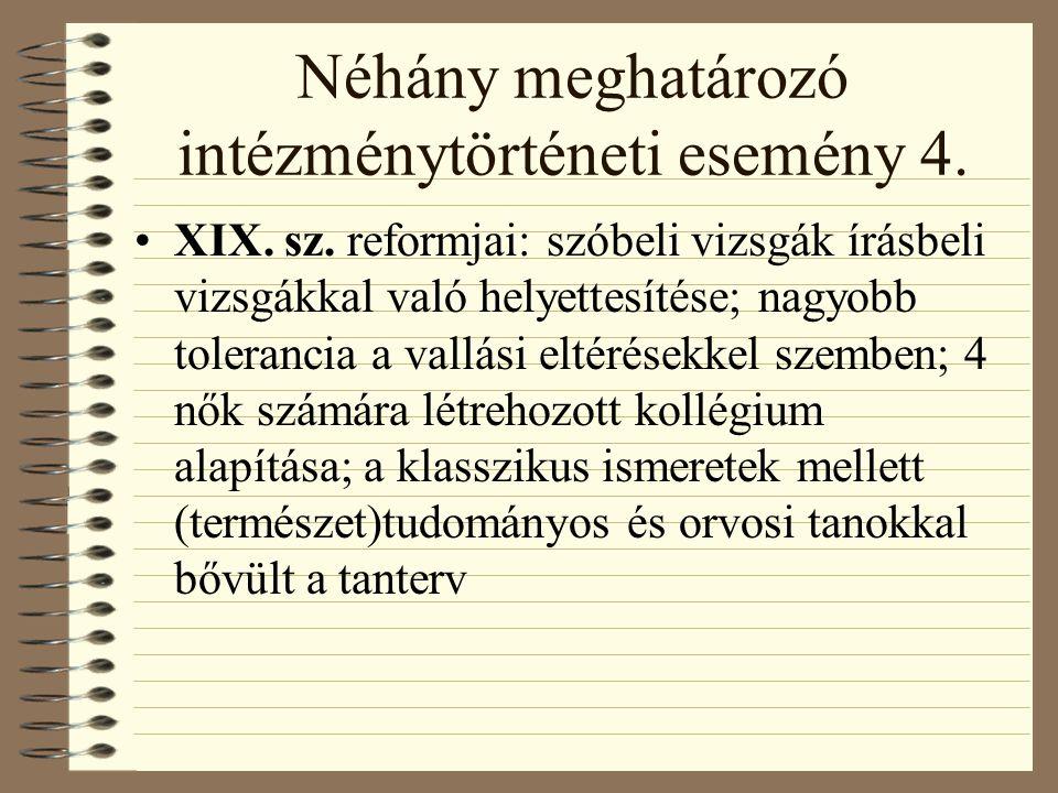 Néhány meghatározó intézménytörténeti esemény 4. XIX.