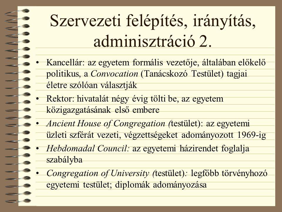 Szervezeti felépítés, irányítás, adminisztráció 2.