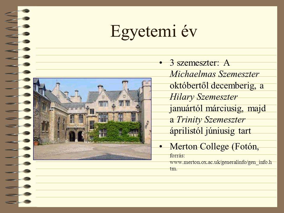 Egyetemi év 3 szemeszter: A Michaelmas Szemeszter októbertől decemberig, a Hilary Szemeszter januártól márciusig, majd a Trinity Szemeszter áprilistól júniusig tart Merton College (Fotón, forrás: www.merton.ox.ac.uk/generalinfo/gen_info.h tm.